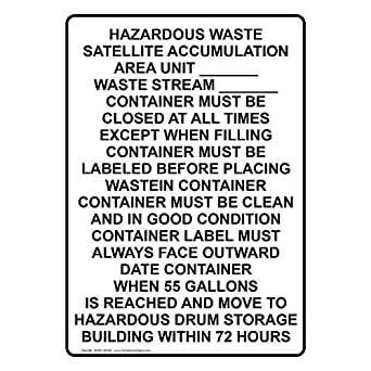 Vertical Hazardous Waste Satellite Accumulation Sign with