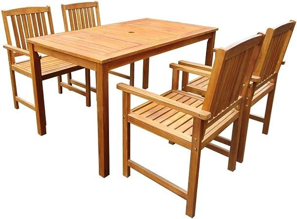 vidaXL Bois d'Acacia Solide Mobilier à Dîner d'Extérieur 5 pcs Salon de Jardin Table et Chaises à Dîner Ensemble de Salle à Manger de Patio