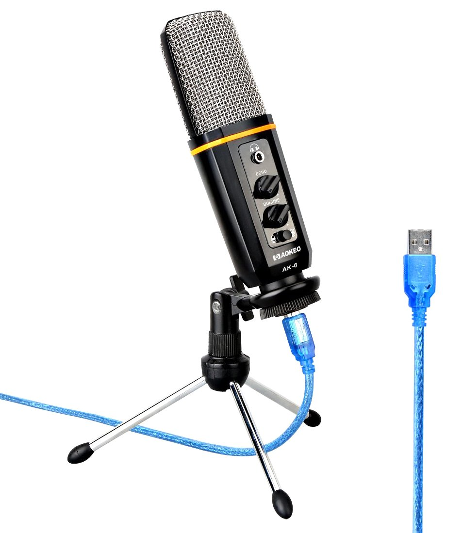 Aokeo's AK-6 Desktop USB Condenser Microphone, Best For Live Podcasting, Broadcasting, Skype, YouTube, Recording, Singing, Streaming, Video Call, Conference, Gaming, Etc. With Mount Stand, Plug & Play Ak6474