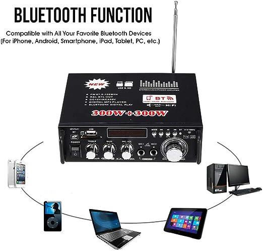 XMAGG® Amplificador HiFi 600 Vatios Compacto MP3 Conector conexión con Smartphone y Bluetooth Home Cinema, 600 W, AUX, Radio, Ecualizador Maestro, Mando a Distancia ...