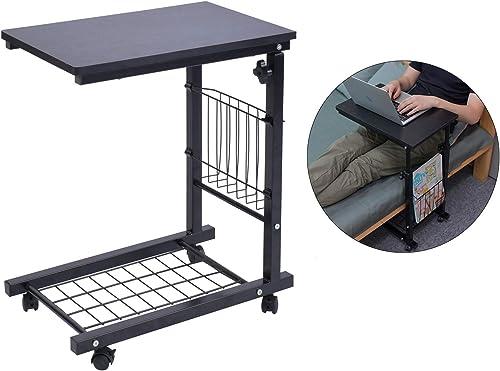 AIZ Overbed Table, Height Adjustable Sofa Side Table Slide Under The Sofa Table Laptop End Table Rolling Bedside Desk Cart, Black