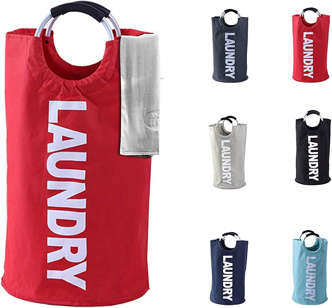Laundry Basket - 1 Pack 82L Large Fabric Laundry Hamper Bag (6 Variations) - Collapsible, Portable, Foldable Clothes Bag Organization, Waterproof, Durable Handles For Bathroom, Kids Room (Red)