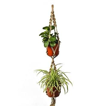 newcomdigi doble cuerda de camo para macetas colgantes de plantas flores suspensin de macrame soporte
