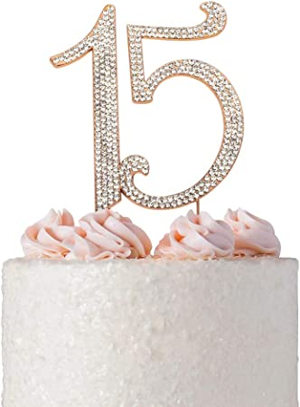 Super Amazon Com Premium Metal Rose Gold Rhinestone Quinceanera 15Th Birthday Cards Printable Riciscafe Filternl