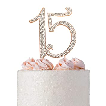 Fantastic 15 Quinceanera Rose Gold Birthday Cake Topper Premium Bling Funny Birthday Cards Online Elaedamsfinfo