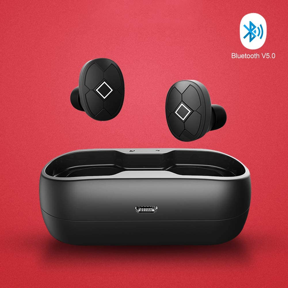 Wireless Earbuds Bluetooth 5.0 TWS Noise Cancelling Headphones with Wireless Charging Case Stereo Sound Headset with IPX7 Waterproof Built-in Mic for Driving Work Sports