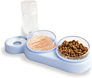 oolilioo Triple Dog Cat Bowls Automatic Pet Feeder Non Spill Detachable Cat Water Dispenser Bottle Elevated Cat Bowl Set for Food and Water for 3 Average Cats or Small Dog