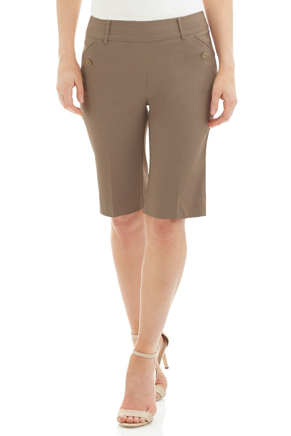 Rekucci Women's Ease in to Comfort Fit Modern Pull On Bermuda Short with Pockets (14,Oatmeal)