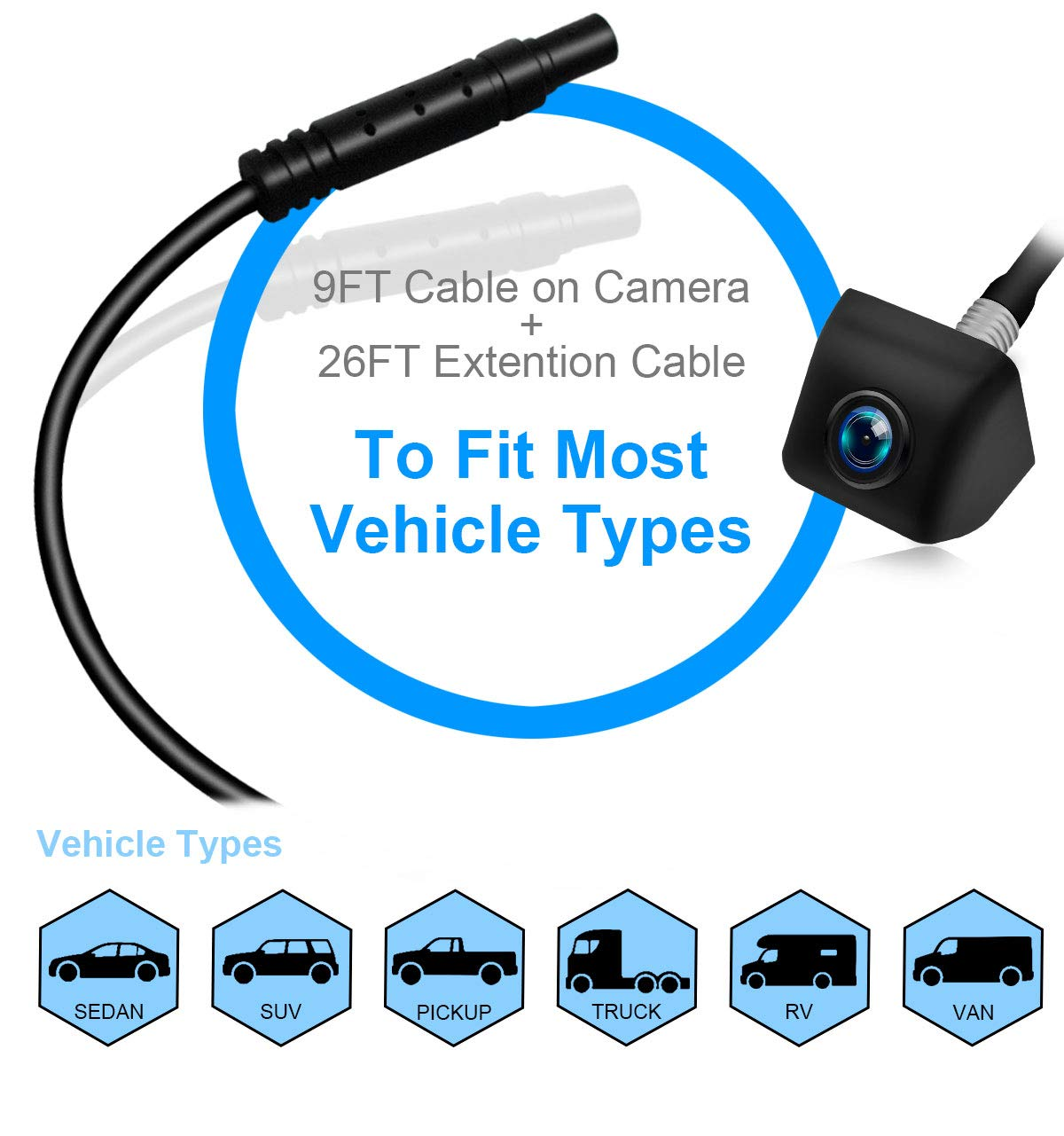 Vehicle Backup Camera,Exclusive Remote Control Rear View Camera IP69K Waterproof 170/° Wide Angle Reverse Camera CCD Super Night Vision PORMIDO Universal Front//Side//Back up Car Camera for Truck RV SUV