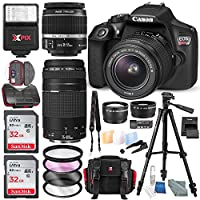 Canon EOS Rebel T6 DSLR Camera W/EF-S 18-55mm f/3.5-5.6 IS II Lens - 75-300mm Lens, 2 X 32GB along with Deluxe Accessories Bundle