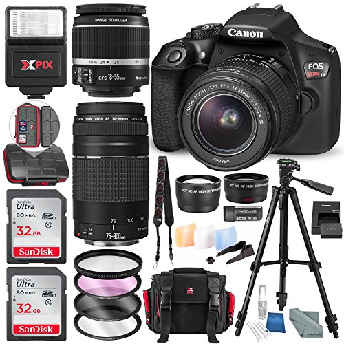 Canon EOS Rebel T6 DSLR Camera W/ EF-S 18-55mm f/3.5-5.6 IS II Lens – 75-300mm Lens, +2X 32GB along with Deluxe Accessories Bundle