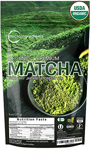 USDA Organic Matcha Green Tea Powder (Japanese Premium Culinary Grade) 8 Ounce - Perfect Healthy Flavor for Baking, Smoothies, Latte, Iced Tea and Herbal Teas. Non-GMO and Vegan Friendly.