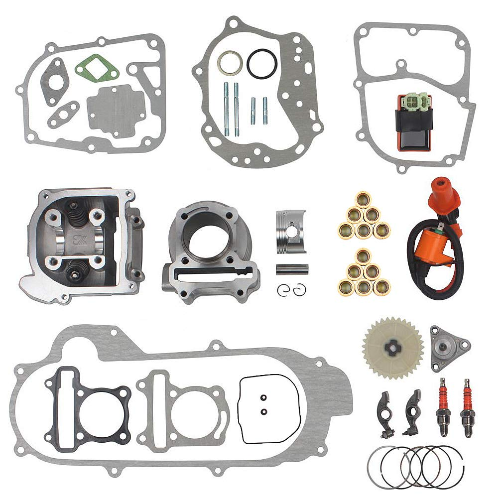 64mm Valve Big Bore Kit 100cc for GY6 49CC 50CC 139QMB Moped Scooter Engine 50mm Bore Upgrade Set with Racing CDI Ignition Coil Performance Spark Plug by RuTu