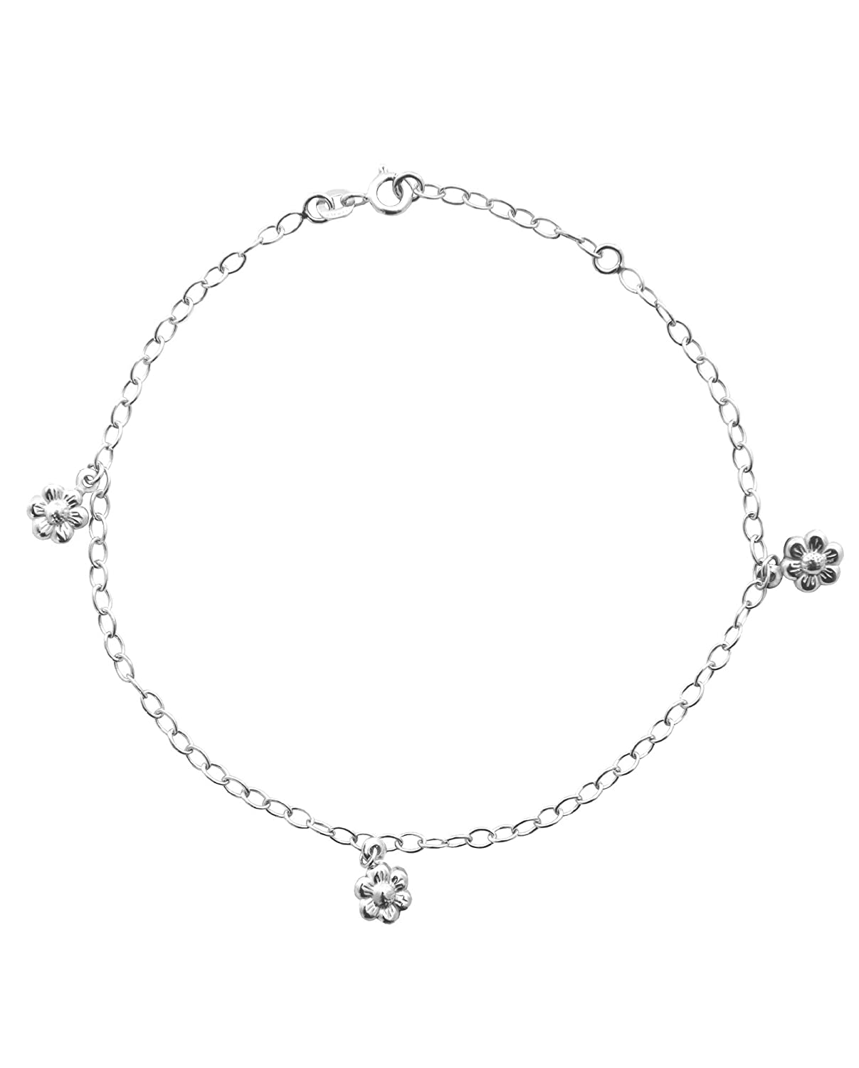 Sterling Silver Anklet Ankle Bracelet with Daisy Flower Dangles