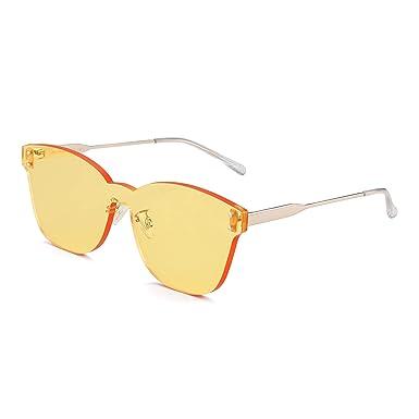 JIM HALO Una Pieza Sin Marco Montura Gafas de Sol Mujer Lente Transprente Caramelo Color Teñido