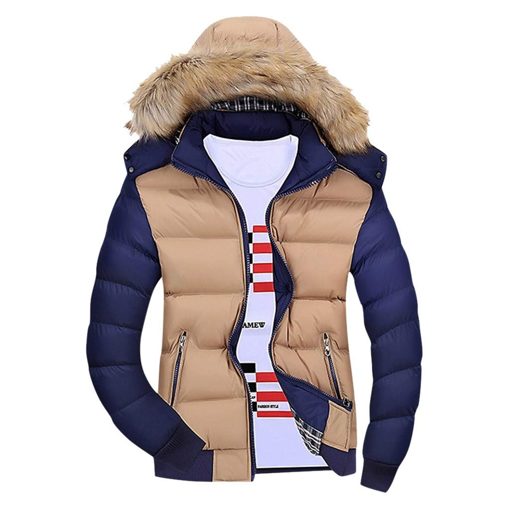 WINJUD Mens Coat Winter Warm Hooded Tracksuit Zipped Contrast Color Long Sleeve Outwear Khaki by WINJUD