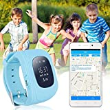 JUNEO Q50 GPS Tracker Smartwatch Anti Lost SOS Call WristWatch Children Finder Fitness Pedometer Wristwatch SOS Calling Location Remote Monitor (Blue)