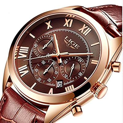 Watches,Mens Watches,Mens Luxurious Genuine Leather Strap Multifunctional Roman Numerical Watch