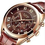 Watch,Mens Womens Watch,Mens Luxury Business Genuine Leather Watch,Fashion Casual Waterproof Roman Numeral Brown Wrist Watch