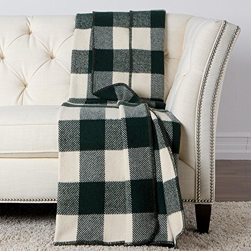 Ethan Allen Buffalo Check Wool Throw Blanket, Ivory/Hunter -