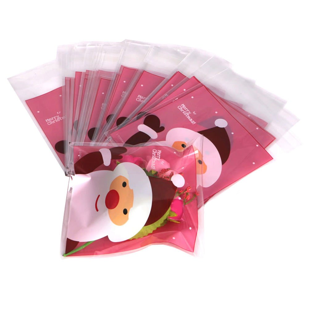 infashionport 50Pcs Christmas Santa Claus Cellophane Gift Cookie Fudge Candy Self Adhesive Bag