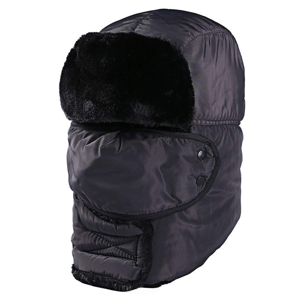 INUPIAT Unisex Headwear Trapper Hat for Women Men Winter Thick Warm Faux Fur Bomber Hats with Ear Flaps (Grey)