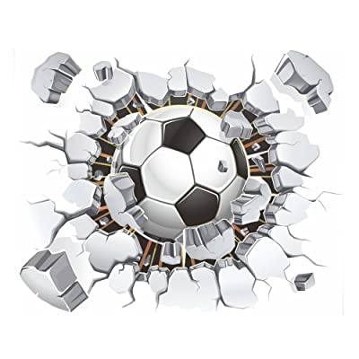 "fantastic me 17""x16"" 3D Soccer Football Cracked Wall Stickers Vinyl Decals Removable Decor for Living Room Kids Room Baby Nursery Boys Bedroom: Home & Kitchen"