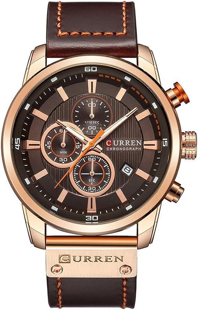 Men Chronograph Sport Watches Brown Leather Strap Quartz Watch Business Casual Wrist Watch for Men