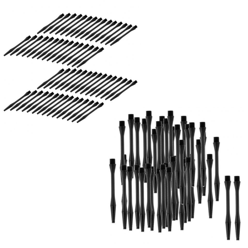 Sharplace 120pcs Dartsch/äfte Kunststoff Darts Shafts Schwarz