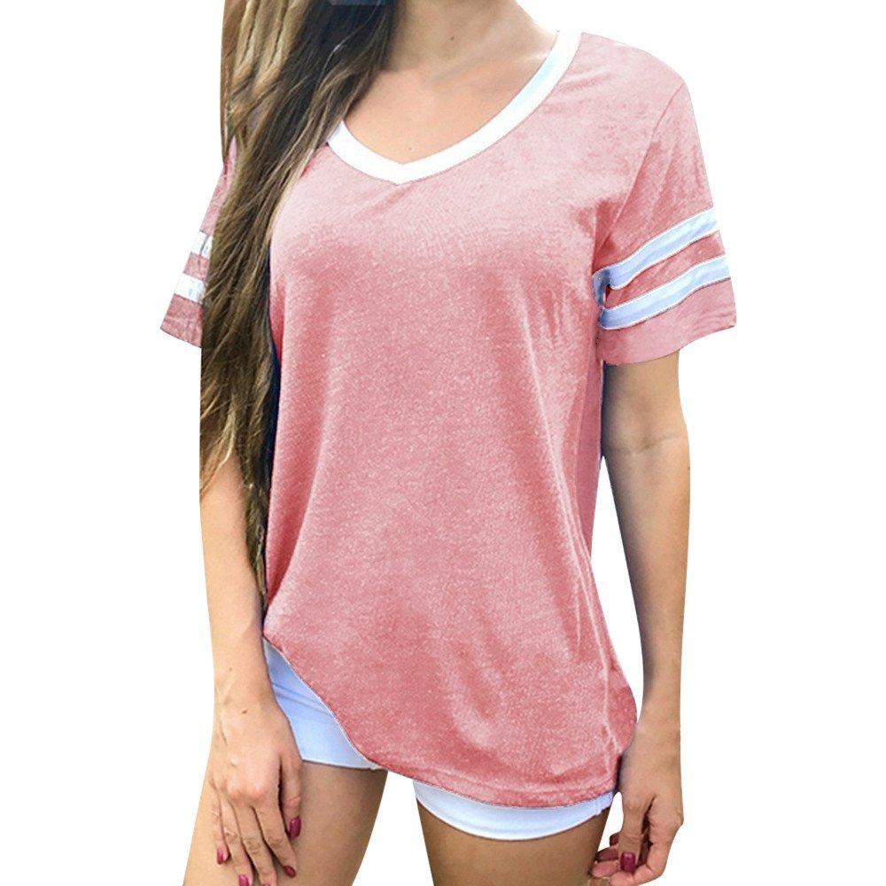 Wugeshangmao Tops for Women Fashion, Girls' Casual Short Sleeve Solid T-Shirt Tops Blouse Tee Tunic Pink