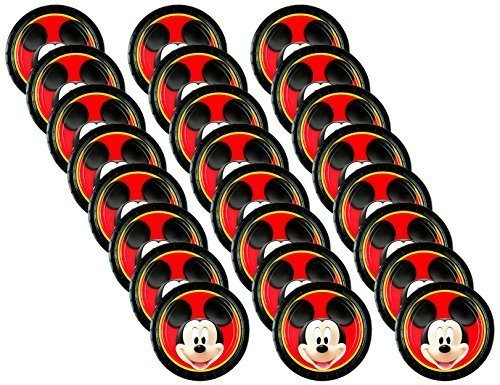 Disney Mickey Mouse Round Lunch Paper Plates (24 Pieces) by Party Supplies (Mouse Round Mickey)