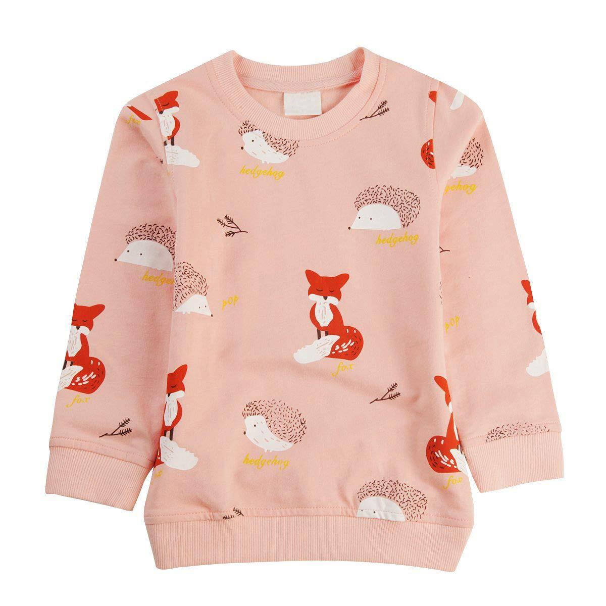 Rjxdlt Little Girls Sweatshirts Cartoon Long Sleeve Cotton Pullover Tops