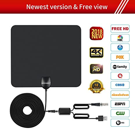 HDTV ANTENNA,Updated 2018 Newest Version 50 Miles Long Range Support Indoor 1080P/4K