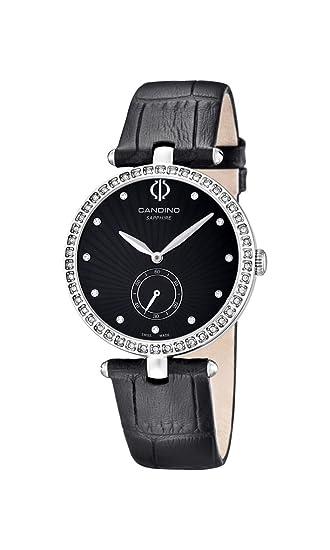Candino reloj mujer de cuarzo con Negro esfera analógica pantalla y correa de cuero negro C4563/2: Amazon.es: Relojes