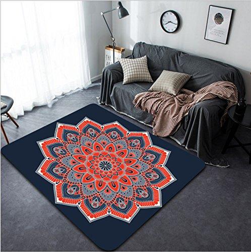 Vanfan Design Home Decorative 440172751 Flower Mandalas Vintage decorative elements Oriental pattern illustration Islam Arabic Indian turkish pakistan chinese ottoman motifs Modern Non-Slip (Bigfoot Ottoman)