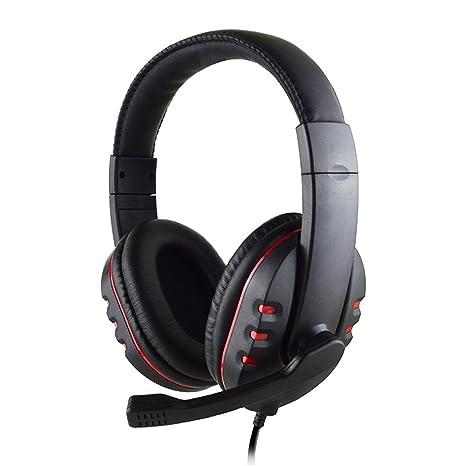 Auriculares estéreo con cable con micrófono cómodo auriculares de auriculares para PS4 Games Skype para Ordenador