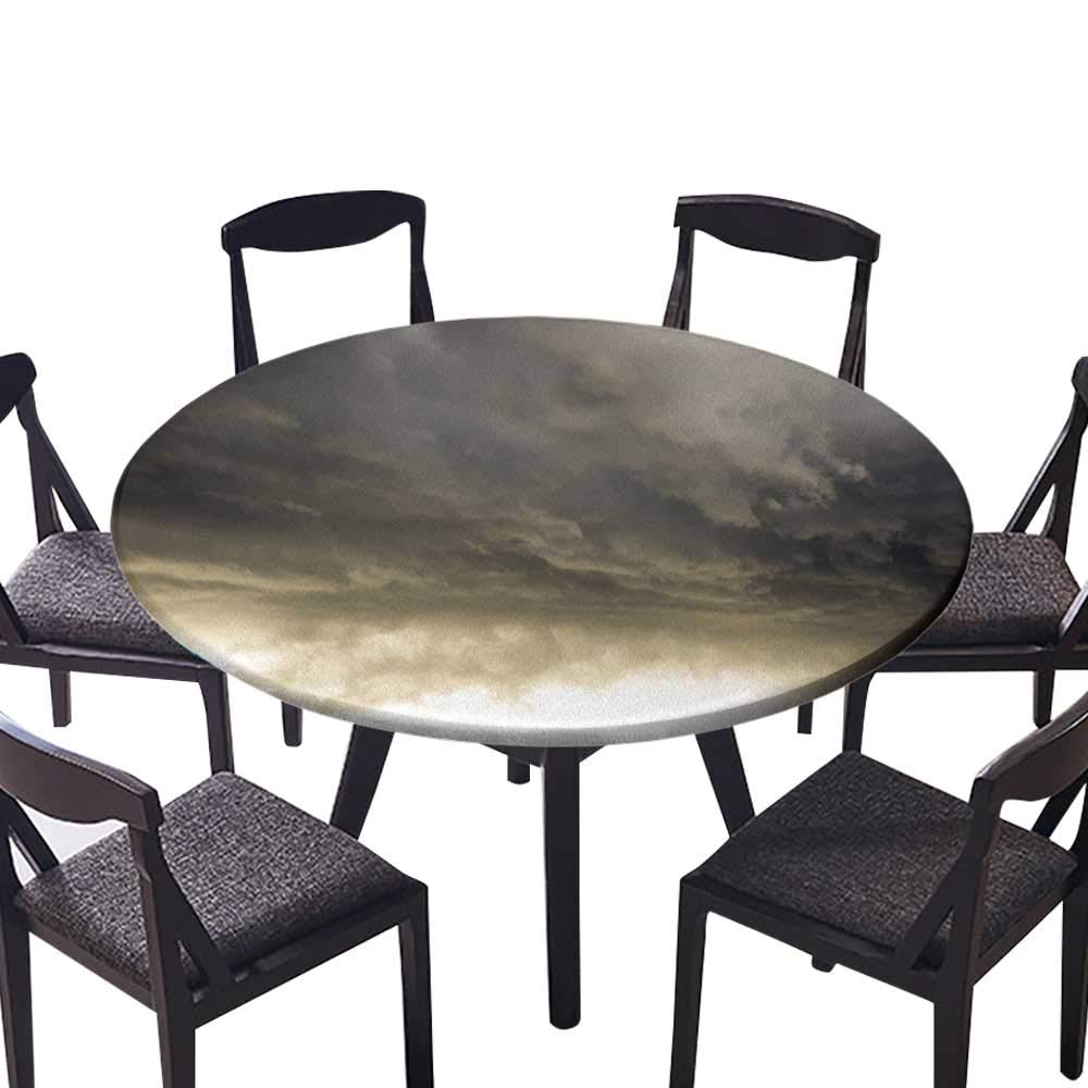 """Modern Simple Round Tablecloth Heavy Storm Clouds in Dark Sky Hurricane Weather Cloudscape Mass of Liquid Droplets for Kitchen 63""""-67"""" Round (Elastic Edge)"""
