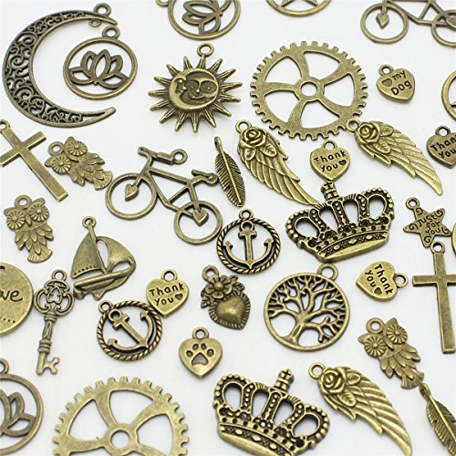 AuroTrends Mixed Charms Pendants Cross?tree of Life, keys,hearts,crescent,sun, crown,leaves DIY for Jewelry Making and Crafting(Antique Bronze)