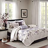 Purple King Size Bedding Sets Madison Park Luna King/Cal King Size Quilt Bedding Set - Taupe, Purple, Floral, Leaf – 6 Piece Bedding Quilt Coverlets – Ultra Soft Microfiber with Cotton Filling Bed Quilts Quilted Coverlet