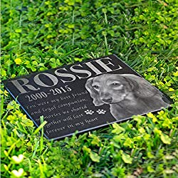 Personalized Dog Memorial With Photo Free Engraving MDL2 Customized Grave Marker | 11x8.5
