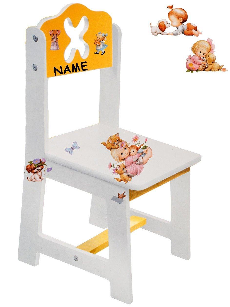 alles-meine  GmbH 3 Stück _ Stühle für Kinder - aus sehr stabilen Holz -  süße Kätzchen & Morehead Kinder - Figuren - Weißszlig;   gelb  - Kinderstuhl - Beistellstuhl - Kindermöbel..  1 Stück - mit NAMEN