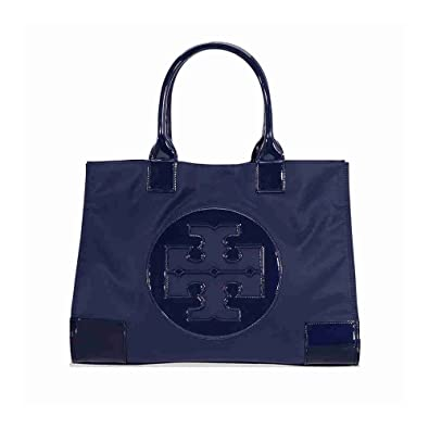 716d75c5ebc Tory Burch Ella Nylon Tote Patent Leather Bag Handbag French Navy Blue