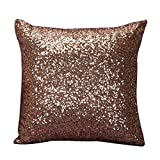 "Tenworld Glitter Sequins Throw Pillow Case Cafe Home Decor Cushion Covers (15.7415.74"", Coffee)"