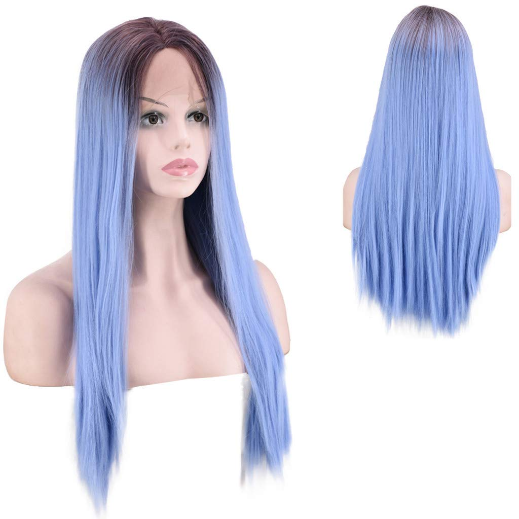 DDLmax 24'' Women's Long Straight Lace Front Wig Gradient Purple Middle Parting Heat Resistant Synthetic Cosplay Costume Full Hair Wig by DDLmax