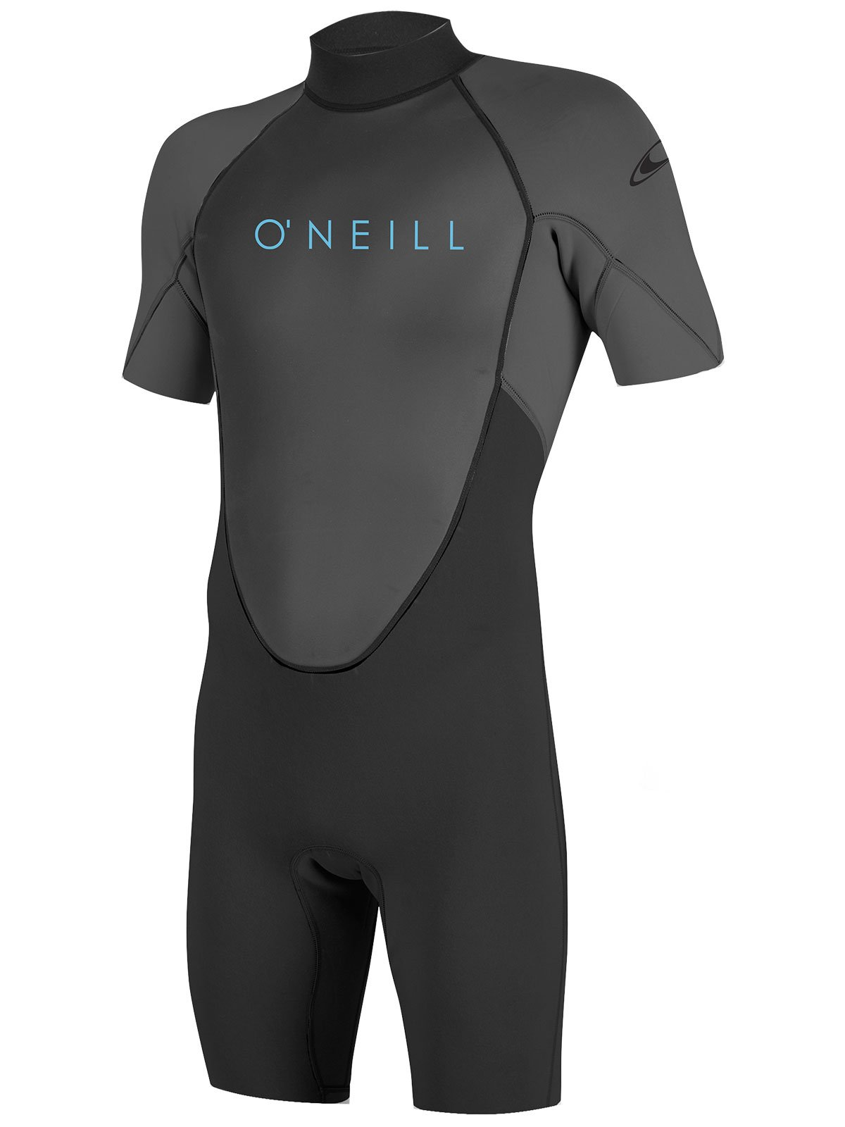 O'Neill Youth Reactor-2 2mm Back Zip Short Sleeve Spring Wetsuit, Black/Graphite, 4