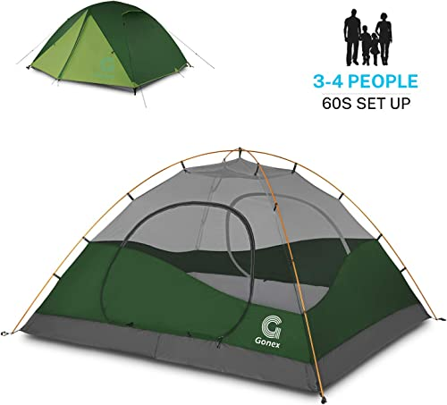 Gonex Camping Tent 1 to 4 Person, Waterproof Windproof Dome Backpacking Tent for Camping Hiking Mountaineering Backyard