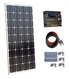 ECO-WORTHY - Panel Solar monocristalino de 100 W y 12 V con Controlador de Carga de 10 A para Sistema de batería de 12 voltios