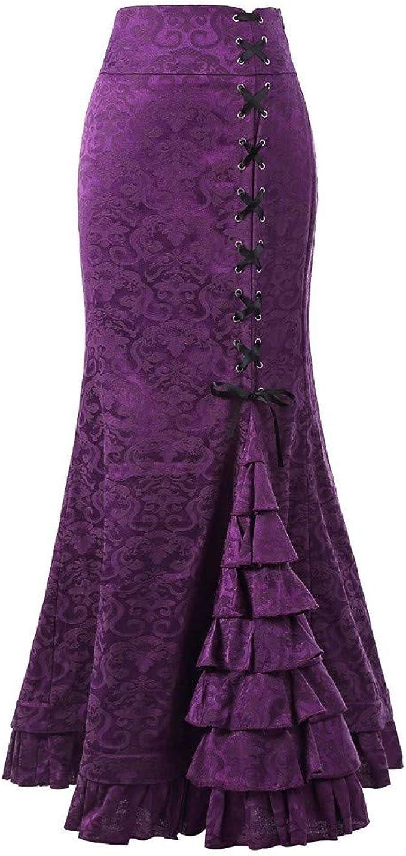 Vintage Women Long Punk Skirt Mermaid Bodycon Ruffle Fishtail Evening Maxi Dress