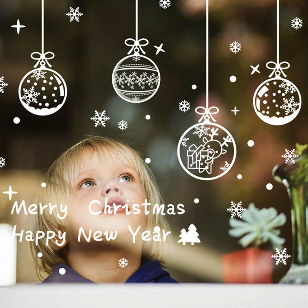 Natale Vetrofanie Adesivi Murali Rimovibile Fai da te Finestra Decorazione Vetrina Wallpaper di neve Christmas Decor Babbo Natale Angelo (A) Yuson Girl