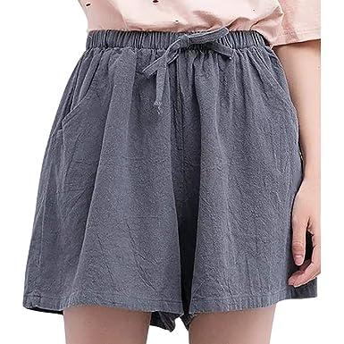 cinnamou Pantalones Mujer, Casual Pantalones Cortos De Lino Y ...